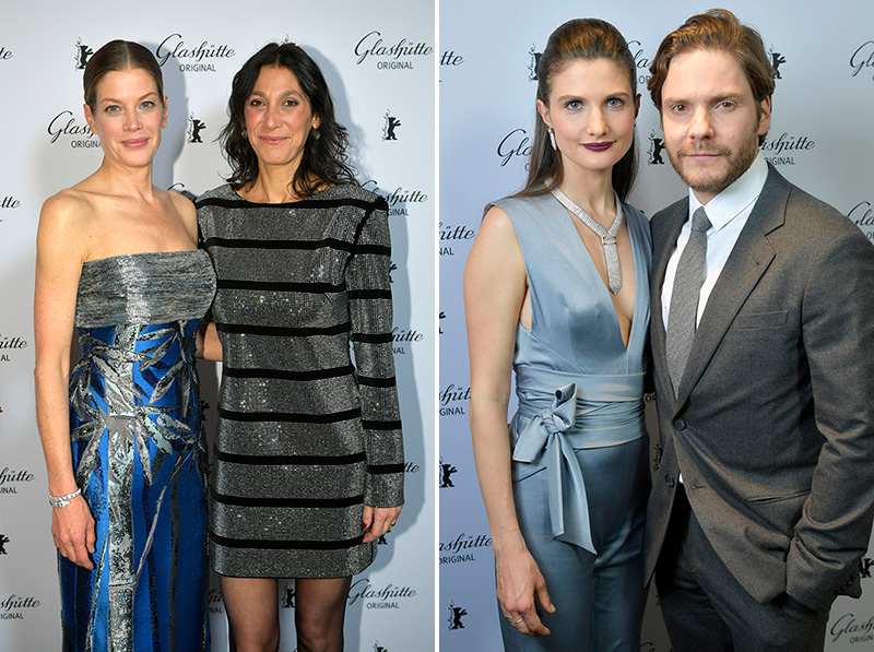 L: Marie Baeumer (L) and Glashuette Original Documentary Award Jury Member Cintia Gil I R: Daniel Bruehl and Felicitas Rombold I Credit: Thomas Lohnes/Getty Images for Glashuette Original.